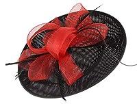 GEMVIE レディース ヘッドドレス メッシュ ヘアクリップ ウェディングハット 髪飾り 結婚式 パーティー カクテルハット 羽根付き 欧米風 レッド