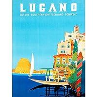 VINTAGE TRAVEL SWITZERLAND BUZZI LUGANO SUISSE NEW FINE ART PRINT POSTER PICTURE 30x40 CMS ビンテージ旅行スイスルガーノアートプリントポスター画像