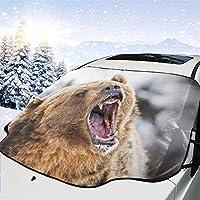 サンシェード 車フロント 叫んでいるくま 車のフロントガラス 日よけ 遮光 断熱 日焼け防止 四季用 防紫外線 落葉対策 車内温度対策 防水材料