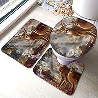 アメリカの国旗鹿ソフトバスルームラグマットセット3ピースノンスリップパッドバスマット+輪郭+トイレ蓋カバー