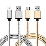 Cellay- 充電ケーブル データ転送ケーブル 高耐久 USB 3.0 Type-C 2本セット マイクロ 高速データ転送 急速充電 ナイロン編み iPhone ケーブル (金・銀)