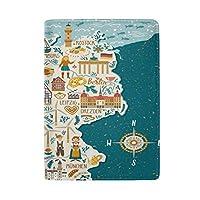 パスポートカバー パスポート入れ パスポートケース 地図 ドイツ かわいい スキミング防止 多機能 カード 旅行 本革