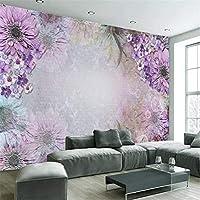 Mrlwy リビングルームの背景3d壁画-350X250CMの豪華な壁画カスタム紫