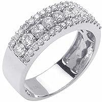 1.00CT TDWホワイトダイヤモンド18Kホワイトゴールドチャネルレディース快適フィットウェディングバンド( G - H、si1- si26mm ホワイト
