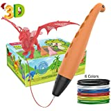 Tecboss 3D Pen for Kids, Dinosaur STEM Toys 3D Printing Pen Mini Printer Drawing Painting Art Set with 2 Speeds Safe Sleep Mode Easy Control, The Best Gifts for 6/7/8/9/10 Year Old Boy Girl (Orange)…