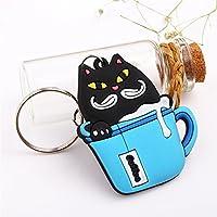 Stylish Keyring 漫画動物PVCペンダントキーホルダーキーホルダー(カップ黒猫)