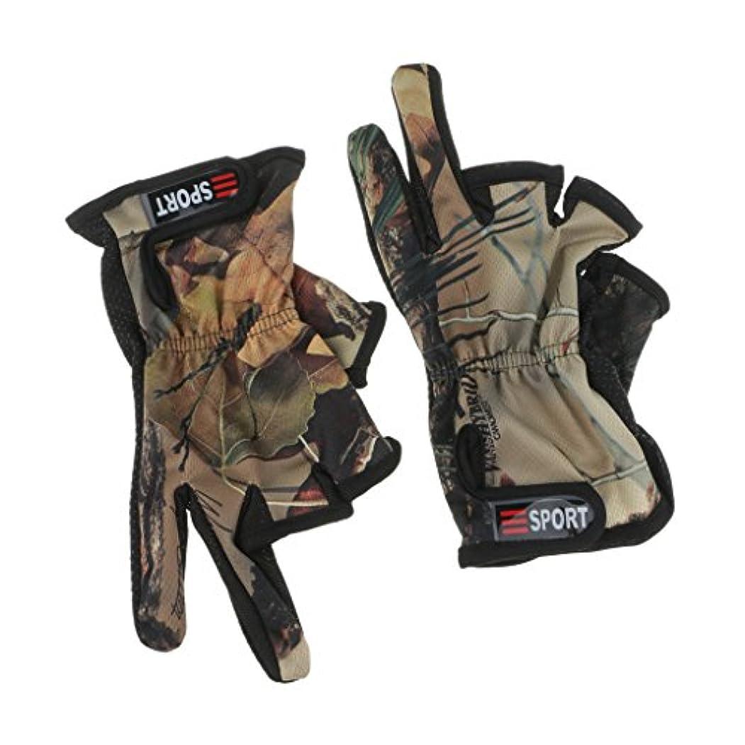 キャリッジ破壊的な加速度Perfk 屋外 釣り スポーツ グローブ 手袋 滑り止め 調整可能 手保護 通気性 快適