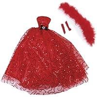 【ノーブランド品】ドール用 人形用 ウェディングドレス ショール 手袋 レッド