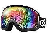 ODOLAND スキーゴーグル  防霧ダブルレンズ メガネ対応 UV400 男女兼用 (ブラック(ノーマルサイズ))