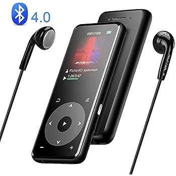 AGPTEK Bluetooth4.0 MP3プレーヤー スピーカー搭載 HiFi音質 デジタルオーディオプレーヤー タッチパネル 歩数計 合金製 内蔵8GB 最大128GBマイクロSDカード対応 A16TB ブラック