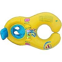 BELUPAID 赤ちゃん用 水泳 フロート ボール プール おもちゃ おなか 水泳リング 2イン1 ポータブル ダブルベビーフローティングシート スイムリング 安全 ソフトコンビネーション ボート ダブルインフレータブル ダブルシート スイムリング イエロー