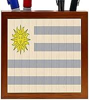 Rikki Knight Uruguay Flag on Distressed Wood Design 5-Inch Wooden Tile Pen Holder (RK-PH8816) [並行輸入品]