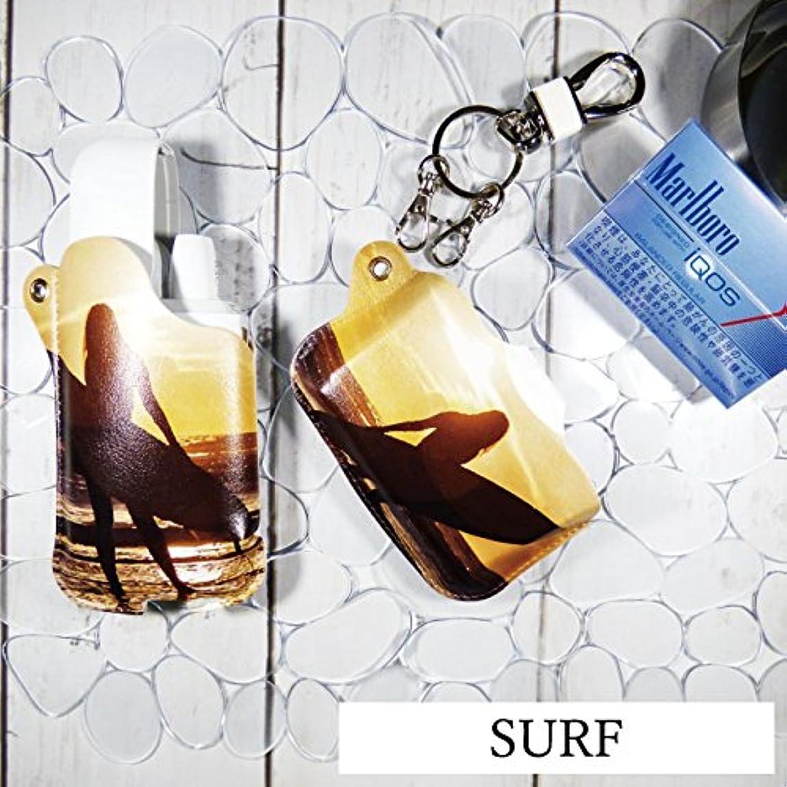 広告定期的ポットIQOS カバー デザイン カバー IQOS ケース サーフ SURF 柄  ヒートスティック ケース キーホルダ型カラビナ付き