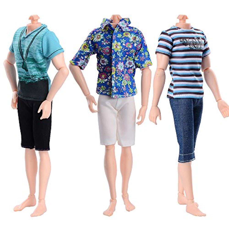 Asiv 3枚セット ファッション 服 ふだん着 平服 私服 Tシャツ バービー シャツ パンツ 人形用 ズボン 服 セット 王子人形用服ランダム スタイル