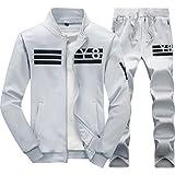 SemiAugust(セミオーガスト)メンズ 秋冬 新品 無地 上 下 セット スウェット長袖ジャケット ロングパンツ 男性用 カラーはグレー サイズは3XL