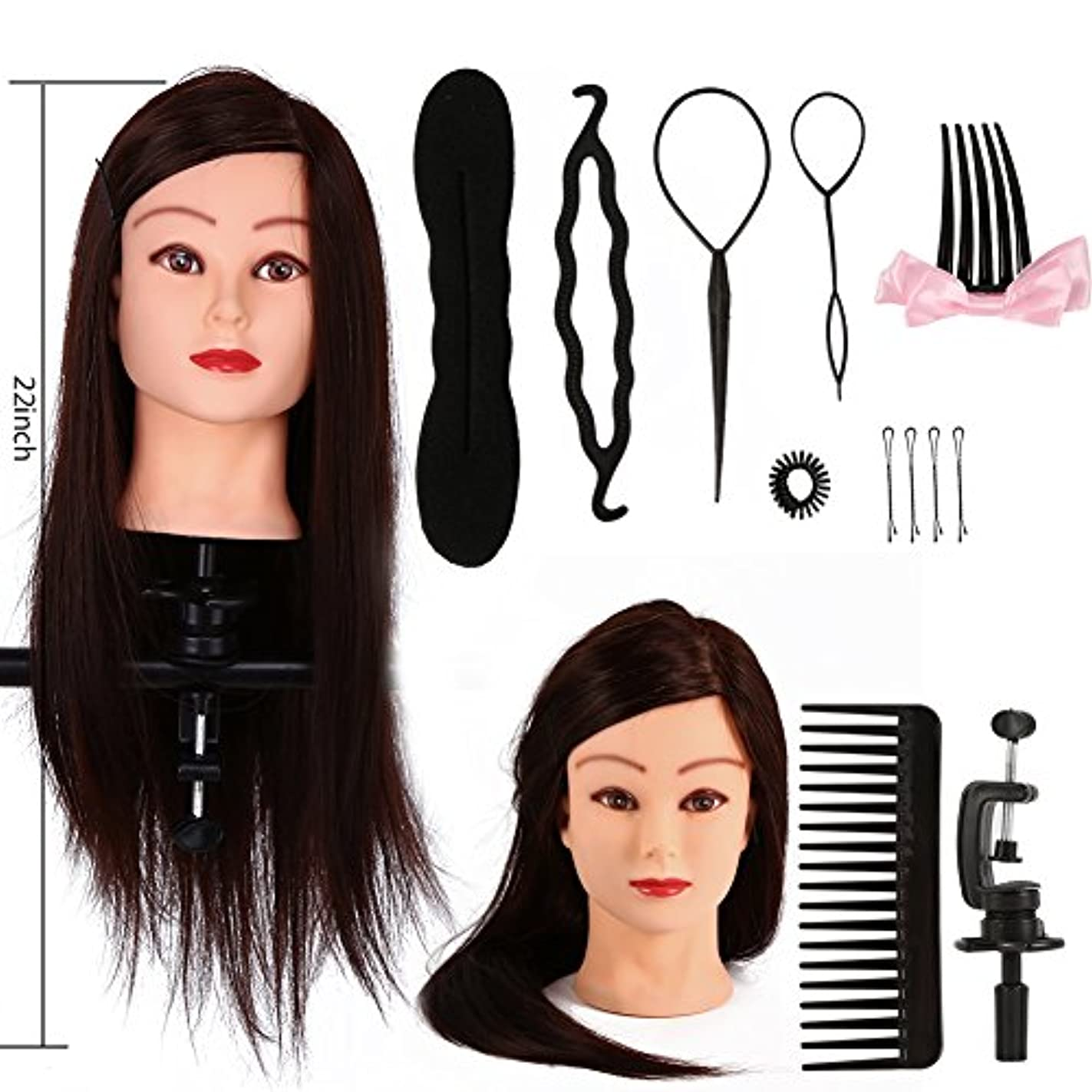 庭園処分した広範囲マネキンヘッド、美容院トレーニング実践ヘッドマネキンロング理髪+ブレードセットツール(1#)