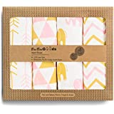 BaeBae Goods Muslin Swaddle Blanket, Pink/Gold Triangles, Adjustable Infant Baby Wrap Set of 4, Baby Swaddling Wrap Blankets Made in Soft Cotton