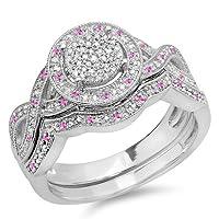 スターリングシルバーラウンドピンクサファイアとホワイトダイヤモンドレディース婚約リングセット