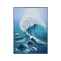 ウォールアートプリント ホームデコレーションに適したリビングルームビッグウェーブフラワーリネンピュア手描きの油絵のために装飾的な絵画 家の装飾用 (色 : C, サイズ : 60×80cm)