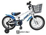 ビスマーク 16インチ ホワイト×ブルー 補助輪付き 組み立て式 子供用自転車 幼児自転車