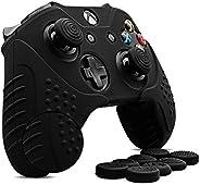 XboxOne コントローラー カバー シリコン CHINFAI スキン ケース 耐衝撃保護 カバー1枚+スティックキャップ8個(黒)