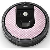 iRobot ルンバ Roomba 専用スキンシール ステッカー 960 980 対応 チェック?ボーダー ピンク チェック 模様 008133