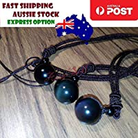 Obsidian Stone Necklace Black or Very Dark Green 16mm Round Pendant