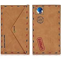 kwmobile PUレザー スマホ用 ケース - カバーケース スリム 保護 ライトブラウン - 16,5 x 10 cm 内寸法