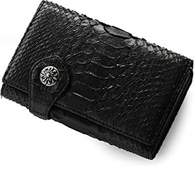 [Crowz] パイソン 折り財布 チェーン付き メンズ バイカーズ : ブラック
