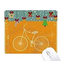 自転車スポーツイラスト黄色のパターン ゲーム用スライドゴムのマウスパッドクリスマス
