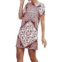 Discount Womens Fashion Casual Ethnic Printed O-Neck Short Sleeve Summer Mini Dress