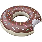 Praxia 大きな かじられた ドーナツ 浮き輪 チョコレート 直径 100cm 【オリジナルビニール手提げ袋付属】