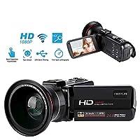 DVビデオカメラ VBESTLIFE WiFi制御 顔検出 IPSタッチスクリーン 1080 p 16倍デジタルズーム 広角レンズ HDビデオカメラ(USプラグ)