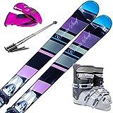 スキー5点セット COSMICSURF 12-13 DUSKEY DAWN BK 140cm ブーツ23cm ストック110cm レディースグローブ