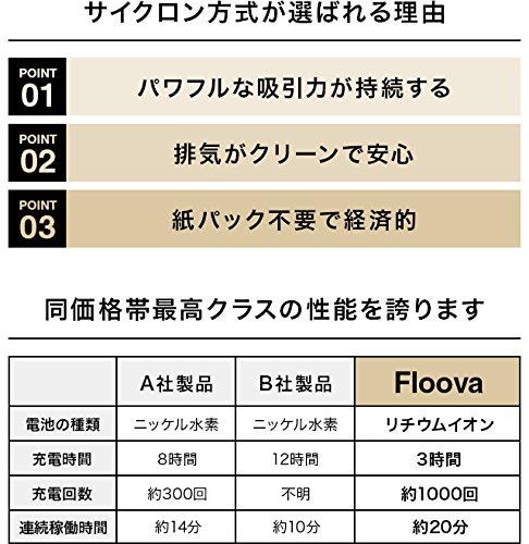掃除機 コードレス スティック ハンディ サイクロン クリーナー 【Floova】 (クリームゴールド)