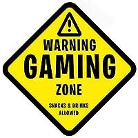 警告賭博ゾーンビニールステッカーギフト用キッズベッドルームのドアや壁 - 大型150 mm x 150 mm(カナリアイエロー)