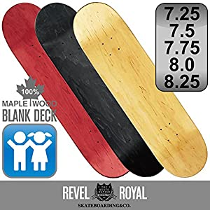 REVEL ROYAL スケートボード エリート ブランク デッキ スケボー 木目 無地 ナチュラル ブラック レッド 100% メイプル 7.25 7.5 7.75 8.0 8.25