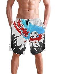 VAWA 水着 メンズ サーフパンツ おしゃれ ビーチパンツ 海水パンツ 短パン 吸汗速乾 大きいサイズ 水陸両用 面白い サッカー フットボール 蹴球柄 ワールドカップ
