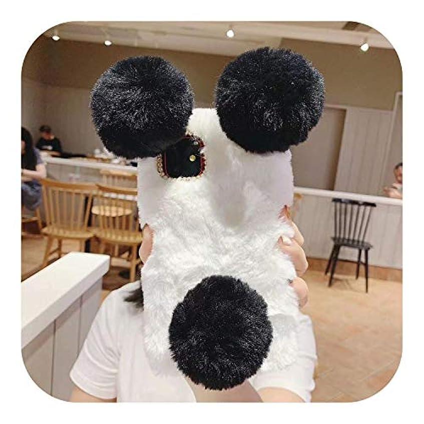 今日オプショナル精神的にミニマリズム高級3Dパンダ耳かわいいぬいぐるみ毛皮ふわふわ電話ケースiphone 11プロマックスXr X Xs 6 6 sプラス7 8 5 5 s SEシリコンカバー-White-For iPhone 5S