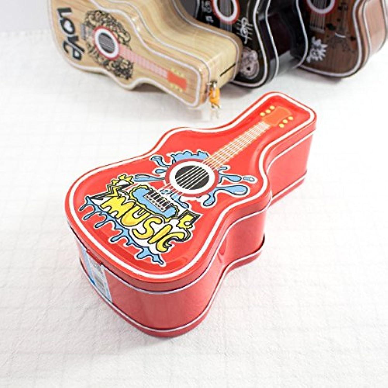 HuaQingPiJu-JP ヒップホップギターピギーバンクアメージングティンプレートキャンディージャーロック(赤)