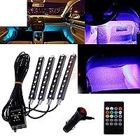 自動 Interni RGB カラー 9 LED ストリップライトキットワイヤレス音楽制御 7 色