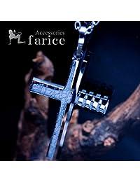 幾何学模様彫り&4列メカニカルパーツ装飾 アシンメトリークロス(十字架)デザイン シルバーカラー メンズ ステンレス ペンダント ネックレス