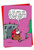 c6144X sg-b12X 1ボックスセットof 12' John CallahanのサンタとエイリアンExchange '陽気なクリスマスグリーティングカードfeaturingサンタHitchhiking on an Alienの宇宙船、封筒付き