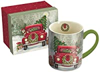 "LANG - 14 oz. Ceramic Coffee Mug -""Santa's Truck"", Art by Susan Winget - Wreath, Pickup, Christmas"