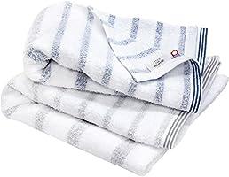hiorie(ヒオリエ) 今治タオル 認定 mist ミスト バスタオル 2枚セット アソートメント2色(グレー+ブルー) 日本製 透かし織 ボーダー 今治ブランド