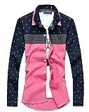 (ベクー)Bekoo メンズ シャツ 長袖 スカル ドット 柄 ワイシャツ (XL, ネイビー)