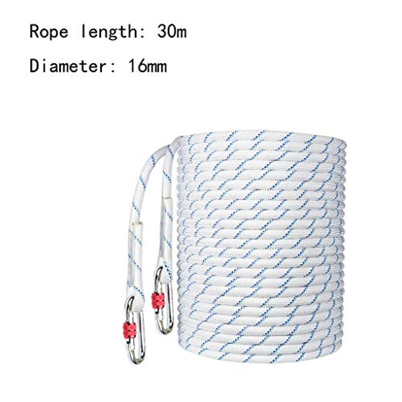 効率ギャロップ良さクライミングハーネス 滑り止めの耐摩耗性作業用安全ロープ、ポリエステル弾性高地用安全ロープ、直径16 mmの屋外転倒防止用ロープ (Color : 30m)