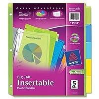 avery消費者製品 insertableタブディバイダー プラスチック 5 tab