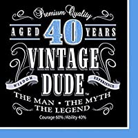 (Lunch (48-Count), Vintage Dude 40th Birthday) - Creative Converting Vintage Dude 40th Birthday Lunch Napkins (Party Pack: 48 Count)