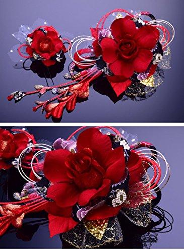 花髪飾りかんざし赤レッド[成人式振袖卒業式袴着物和装簪髪型]